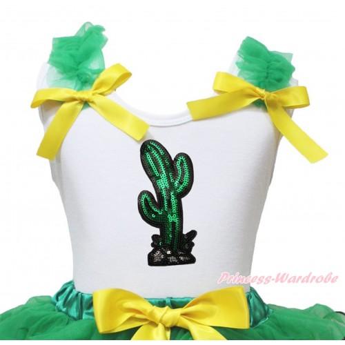 Cinco De Mayo White Tank Top Kelly Green Ruffles Yellow Bow & Sparkle Sequins Cactus Print TB1438