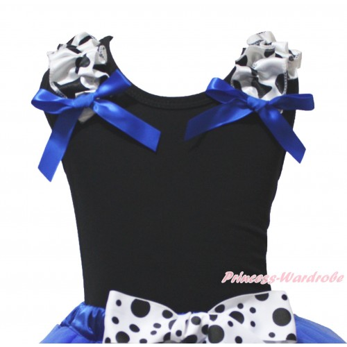Black Tank Top Milk Cow Ruffles Royal Blue Bow TB1441
