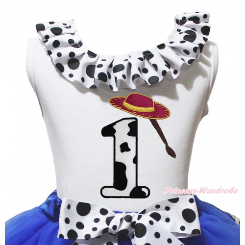 White Tank Top White Black Dots Lacing & 1st Cowgirl Hat Braid Milk Cow Birthday Number Print TB1484