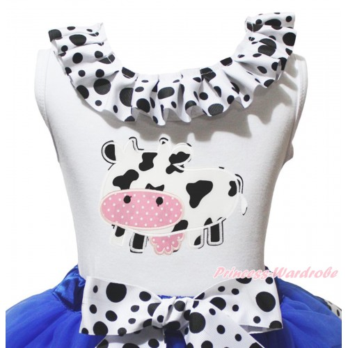 White Tank Top White Black Dots Lacing & Milk Cow Print TB1485