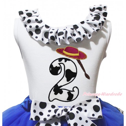White Tank Top White Black Dots Lacing & 2nd Cowgirl Hat Braid Milk Cow Birthday Number Print TB1487