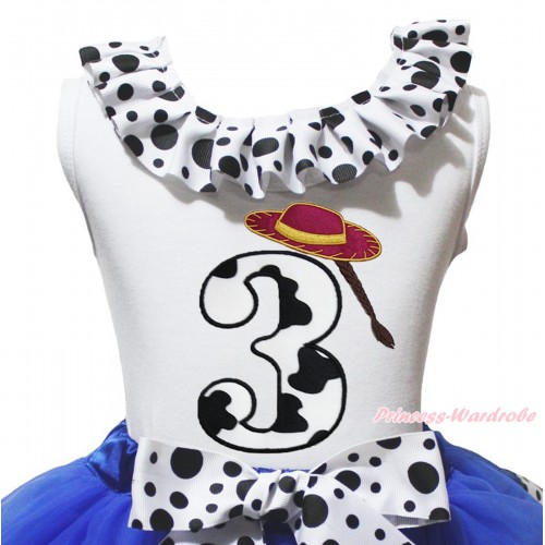 White Tank Top White Black Dots Lacing & 3rd Cowgirl Hat Braid Milk Cow Birthday Number Print TB1488