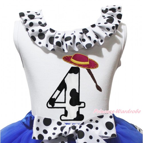 White Tank Top White Black Dots Lacing & 4th Cowgirl Hat Braid Milk Cow Birthday Number Print TB1489