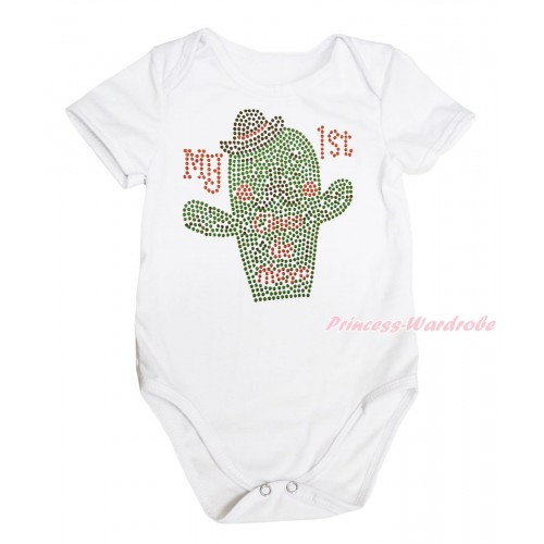 White Baby Jumpsuit & Sparkle Rhinestone My 1st Cinco De Mayo Cactus Print TH654
