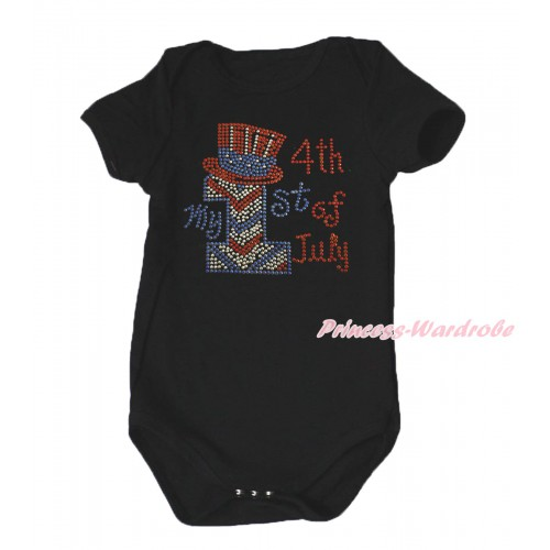 American's Birthday Black Baby Jumpsuit & Sparkle Rhinestone My 1st 4th Of July Print TH656