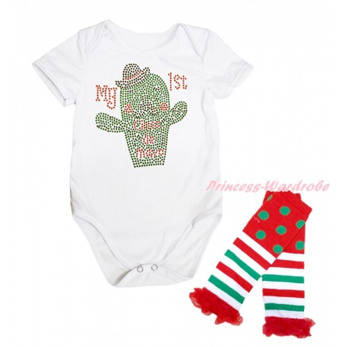 White Baby Jumpsuit Sparkle Rhinestone My 1st  Cinco De Mayo Cactus Print & Warmer Set TH657