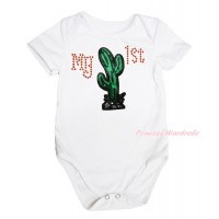 Cinco De Mayo White Baby Jumpsuit Rhinestone My 1st Sequins Cactus Print TH658