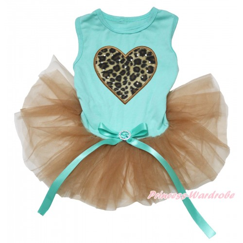 Aqua Blue Sleeveless Goldenrod Gauze Skirt & Leopard Heart Print & Aqua Blue Rhinestone Bow Pet Dress DC229
