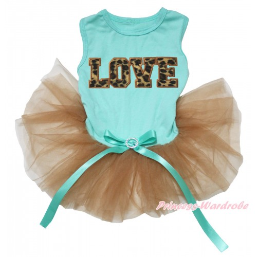 Aqua Blue Sleeveless Goldenrod Gauze Skirt & Leopard LOVE print & Aqua Blue Rhinestone Bow Pet Dress DC231