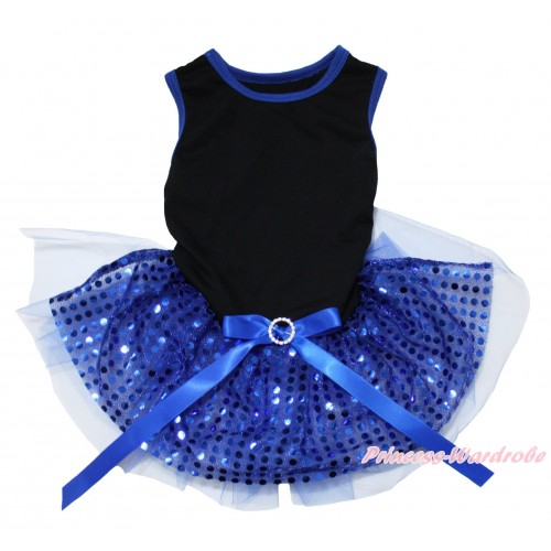 Black Blue Piping Sleeveless Royal Blue Bling Sequins Gauze Skirt & Royal Blue Rhinestone Bow Pet Dress DC233