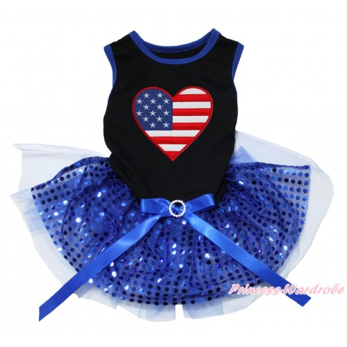 American's Birthday Black Blue Piping Sleeveless Bling Royal Blue Sequins Gauze Skirt & Patriotic American Heart Print & Royal Blue Rhinestone Bow Pet Dress DC234