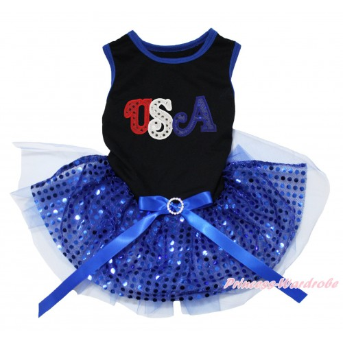 American's Birthday Black Blue Piping Sleeveless Royal Blue Bling Sequins Gauze Skirt & Sparkle Rhinestone USA Print & Royal Blue Rhinestone Bow Pet Dress DC235