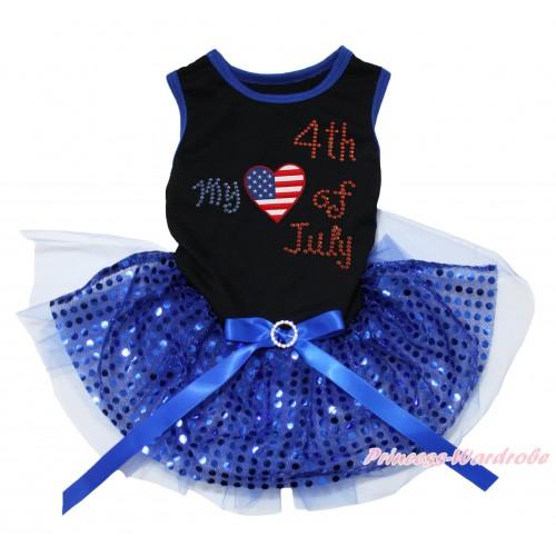 American's Birthday Black Blue Piping Sleeveless Royal Blue Bling Sequins Gauze Skirt & American Striped Stars Heart Rhinestone My American 4th Of July Print & Royal Blue Rhinestone Bow Pet Dress DC236
