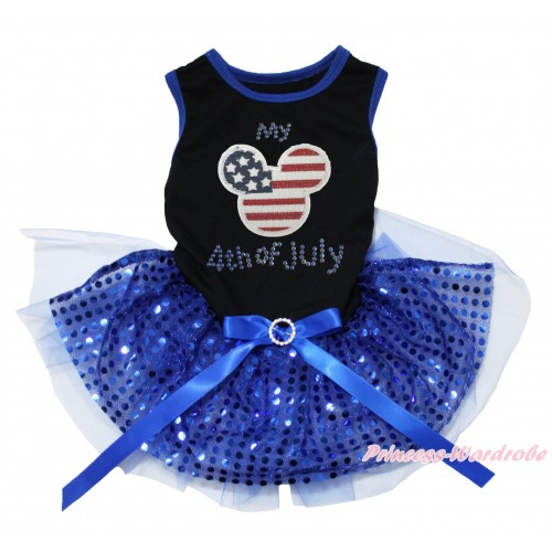 American's Birthday Black Blue Piping Sleeveless Royal Blue Bling Sequins Gauze Skirt & American Striped Stars Minnie Rhinestone My American 4th Of July Print & Royal Blue Rhinestone Bow Pet Dress DC237