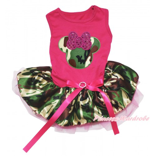 Hot Pink Sleeveless Hot Pink Camouflage Gauze Skirt & Sparkle Hot Pink Camouflage Minnie Print & Hot Pink Rhinestone Bow Pet Dress DC239
