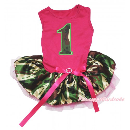 Hot Pink Sleeveless Hot Pink Camouflage Gauze Skirt & 1st Camouflage Birthday Number Print & Hot Pink Rhinestone Bow Pet Dress DC241