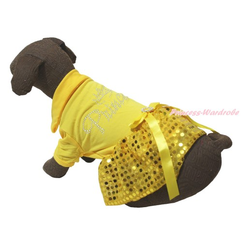 Yellow Short Sleeves Tee Shirt Yellow Bling Sequins Skirt & Sparkle Rhinestone Princess Print & Yellow Rhinestone Bow Pet Dress DC245