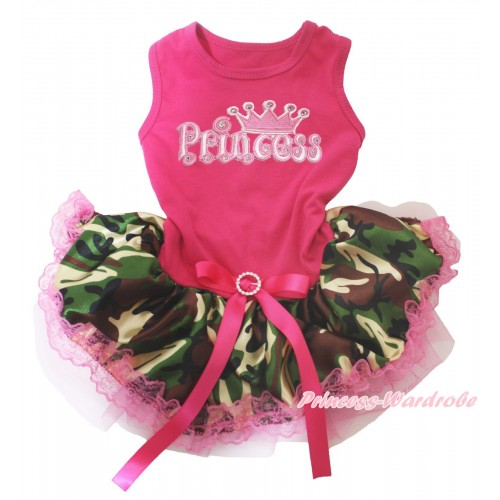 Hot Pink Sleeveless Hot Pink Camouflage Lace Gauze Skirt & Princess Print & Hot Pink Rhinestone Bow Pet Dress DC248