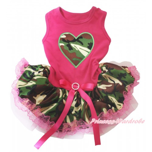 Hot Pink Sleeveless Hot Pink Camouflage Lace Gauze Skirt & Camouflage Heart Print & Hot Pink Rhinestone Bow Pet Dress DC249