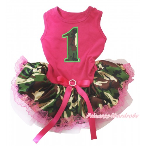 Hot Pink Sleeveless Hot Pink Camouflage Lace Gauze Skirt & 1st Camouflage Birthday Number Print & Hot Pink Rhinestone Bow Pet Dress DC251