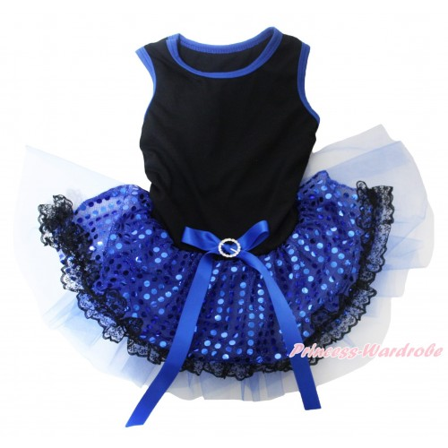 Black Blue Piping Sleeveless Royal Blue Bling Sequins Black Lace Gauze Skirt & Royal Blue Rhinestone Bow Pet Dress DC252