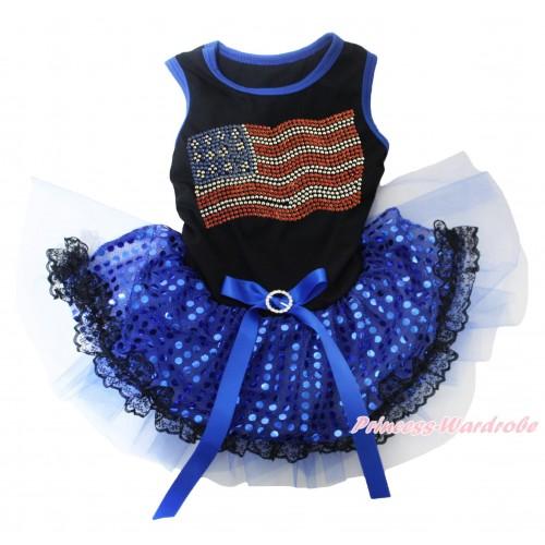 American's Birthday Black Blue Piping Sleeveless Royal Blue Bling Sequins Black Lace Gauze Skirt & Sparkle Rhinestone American Print & Royal Blue Rhinestone Bow Pet Dress DC254