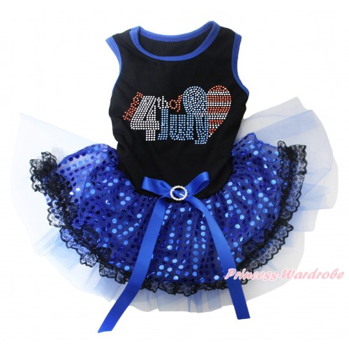 American's Birthday Black Blue Piping Sleeveless Royal Blue Bling Sequins Black Lace Gauze Skirt & Sparkle Rhinestone Happy 4th Of July Heart Print & Royal Blue Rhinestone Bow Pet Dress DC255