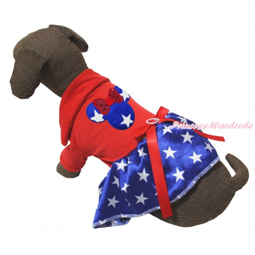 American's Birthday Red Short Sleeves Tee Shirt Patriotic American Star Skirt & Patriotic American Star Minnie Print & Red Rhinestone Bow Pet Dress DC263