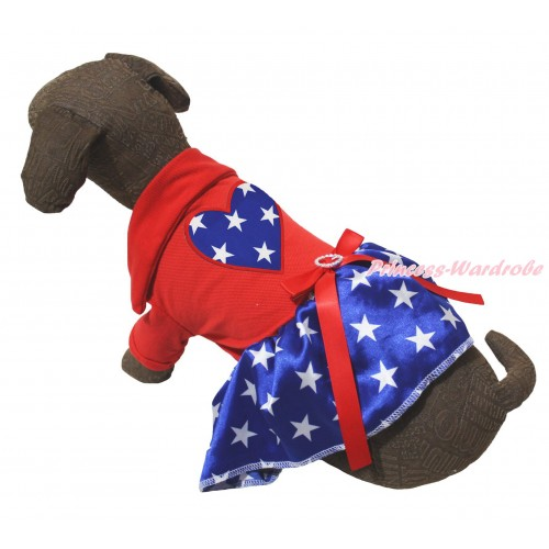 American's Birthday Red Short Sleeves Tee Shirt Patriotic American Star Skirt & American Star Heart Print & Red Rhinestone Bow Pet Dress DC264