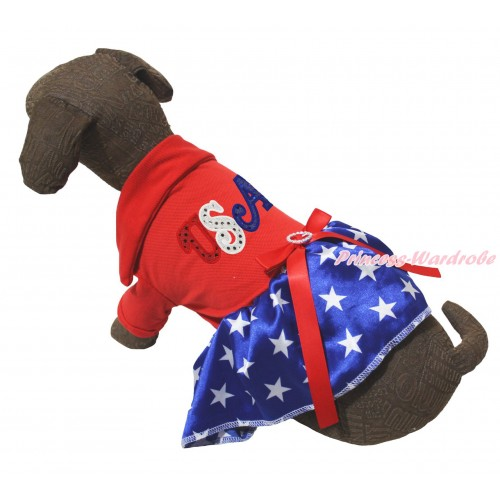 American's Birthday Red Short Sleeves Tee Shirt Patriotic American Star Skirt & Sparkle Rhinestone USA Print & Red Rhinestone Bow Pet Dress DC265