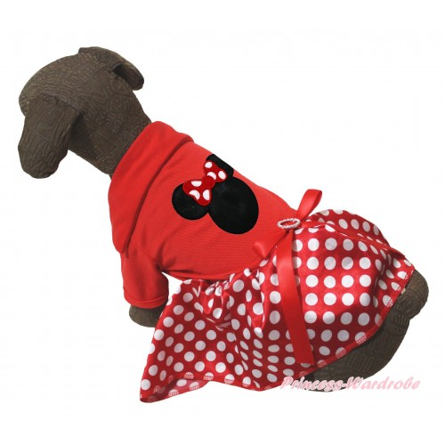 Red Short Sleeves Tee Shirt Minnie Dots Skirt & Minnie Print & Red Rhinestone Bow Pet Dress DC280