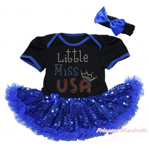 American's Birthday Black Baby Bodysuit Jumpsuit Bling Royal Blue Sequins Pettiskirt & Sparkle Rhinestone Little Miss USA Print JS5062