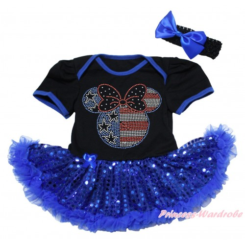 American's Birthday Black Baby Bodysuit Jumpsuit Bling Royal Blue Sequins Pettiskirt & Sparkle Crystal Bling Rhinestone 4th July Minnie Print JS5063