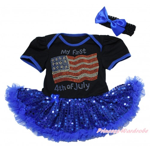 American's Birthday Black Baby Bodysuit Jumpsuit Bling Royal Blue Sequins Pettiskirt & Sparkle Rhinestone My First Patriotic American 4th Of July Print  JS5064