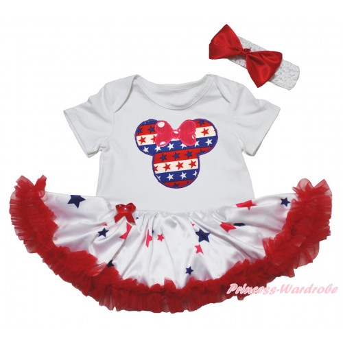 American's Birthday White Baby Bodysuit Jumpsuit Red Blue Star Pettiskirt & Red Bows with Red White Blue Striped Star Minnie JS5070