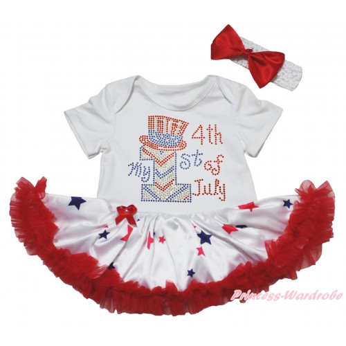 American's Birthday White Baby Bodysuit Jumpsuit Red Blue Star Pettiskirt & Rhinestone My 1st American 4th Of July Print JS5071