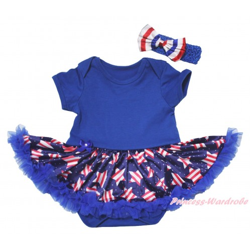 American's Birthday Blue Baby Bodysuit Jumpsuit White Dots Patriotic American Star Pettiskirt JS5073