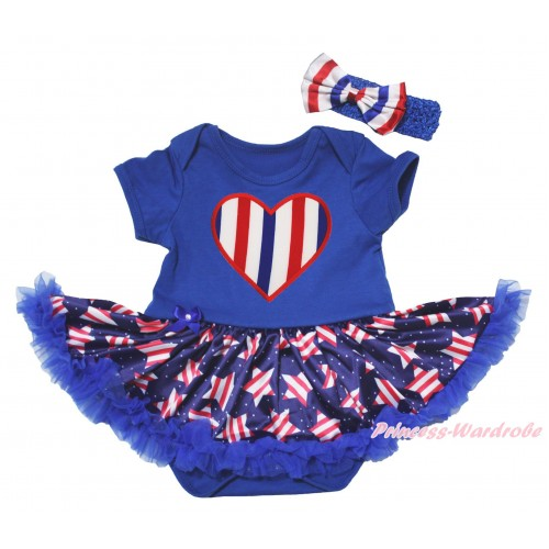 American's Birthday Blue Baby Bodysuit Jumpsuit White Dots Patriotic American Star Pettiskirt & Red Bow & Red White Blue Striped Heart Print JS5074