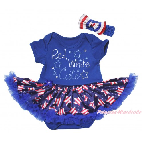 American's Birthday Blue Baby Bodysuit Jumpsuit White Dots Patriotic American Star Pettiskirt & Rhinestone Red White Cute Print JS5078