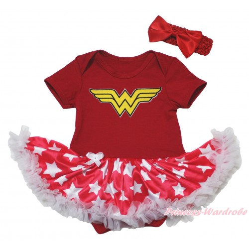 Red Baby Bodysuit Patriotic American Star Pettiskirt & Wonder Woman Print JS5080