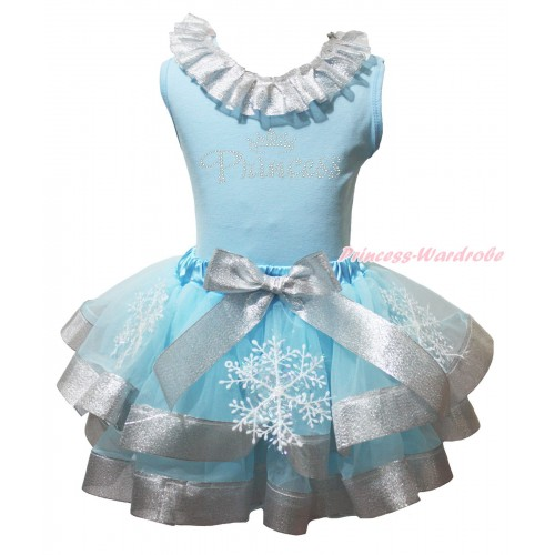 Light Blue Baby Tank Top Sparkle Grey Silver Lacing & Rhinestone Princess Print & Snowflakes Light Blue Sparkle Grey Silver Trimmed Newborn Pettiskirt  NG2015