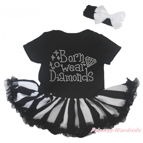 Black Baby Bodysuit Black White Striped Pettiskirt & Rhinestone Born To Wear Diamonds Print JS5168