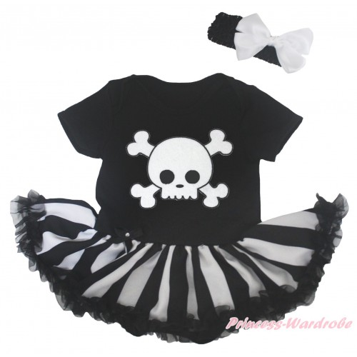 Halloween Black Baby Bodysuit Black White Striped Pettiskirt & White Skeleton Print JS5170