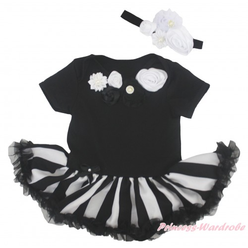 Black Baby Bodysuit Black White Striped Pettiskirt & Black White Vintage Garden Rosettes Lacing JS5171