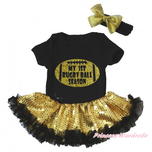 Black Baby Bodysuit Bling Gold Sequins Black Pettiskirt & My 1st Rugby Ball Season Painting JS5177