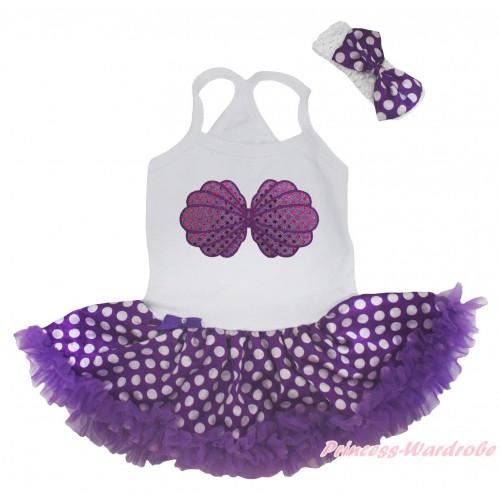White Baby Halter Jumpsuit & Mermaid Sea Shell Bra Print & Purple White Dots Pettiskirt JS5181