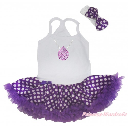 Princess Sofia White Baby Halter Jumpsuit & Sparkle Rhinestone Necklace Print & Purple White Dots Pettiskirt JS5182