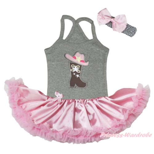 Grey Baby Halter Jumpsuit & Cowgirl Hat Boot Print & Light Pink Pettiskirt JS5188