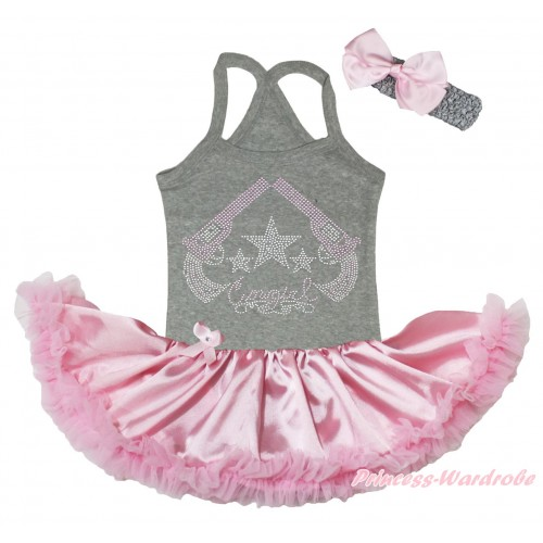 Grey Baby Halter Jumpsuit & Sparkle Rhinestone Cowgirl Print & Light Pink Pettiskirt JS5191