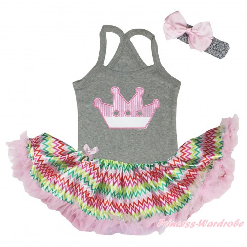 Grey Baby Halter Jumpsuit & Crown Print & Rainbow Chevron Pettiskirt JS5194